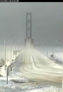 Mackinac Bridge in Winter.  Photo from Mackinac Bridge Authority's Webcam